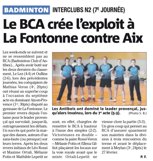 Presse : Le BCA crée l'exploit à La Fontonne contre Aix
