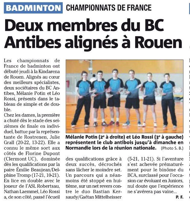 Presse : Deux membre du BC Antibes alignés à Rouen